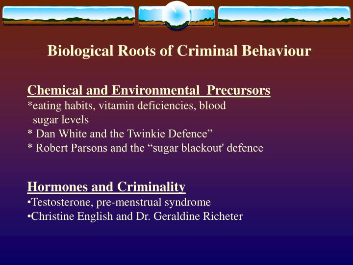 biological criminal behavior A view of crime, also referred to as biological positivism, that claims that criminal behavior is the result of biological or inborn defects or abnormalities this view directly conflicts with classical criminology, which claims.