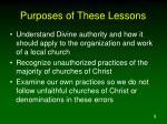 purposes of these lessons