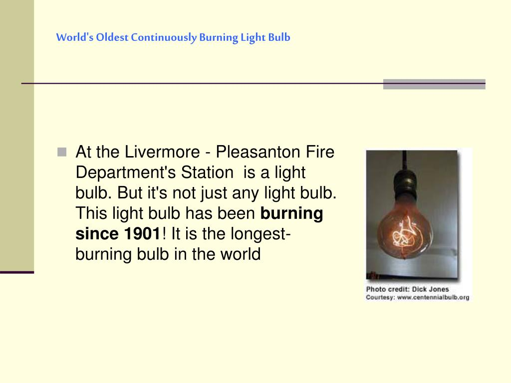 World's Oldest Continuously Burning Light Bulb