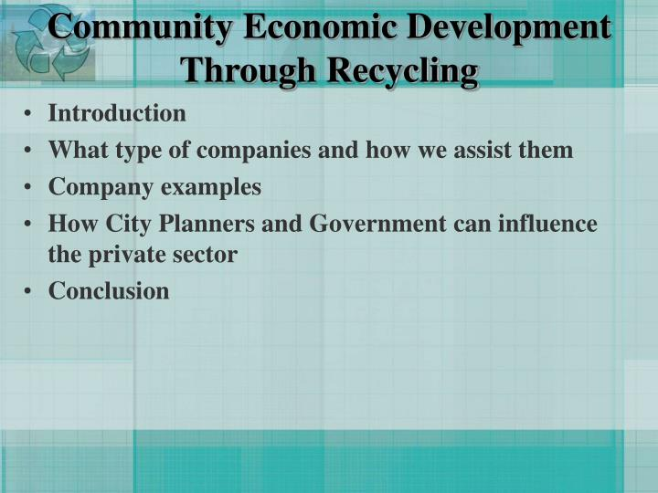 Community economic development through recycling