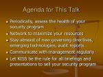agenda for this talk
