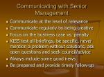 communicating with senior management