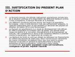 iii justification du present plan d action
