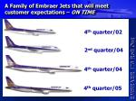 a family of embraer jets that will meet customer expectations on time