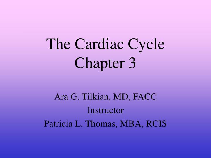 the cardiac cycle chapter 3 n.