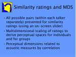 similarity ratings and mds