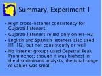 summary experiment 1