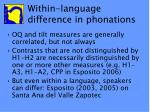 within language difference in phonations