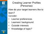 creating learner profiles personas