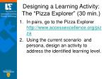 designing a learning activity the pizza explorer 30 min