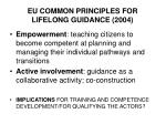 eu common principles for lifelong guidance 20041