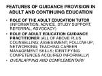 features of guidance provision in adult and continuing education