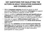 key questions for qualifying the actors in adult education guidance and counselling