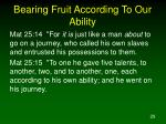 bearing fruit according to our ability