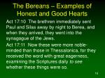 the bereans examples of honest and good hearts