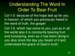 understanding the word in order to bear fruit