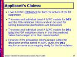 applicant s claims