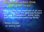 why should writers think about their verbs