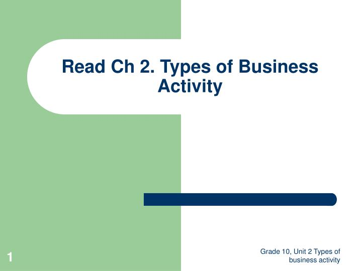 read ch 2 types of business activity n.