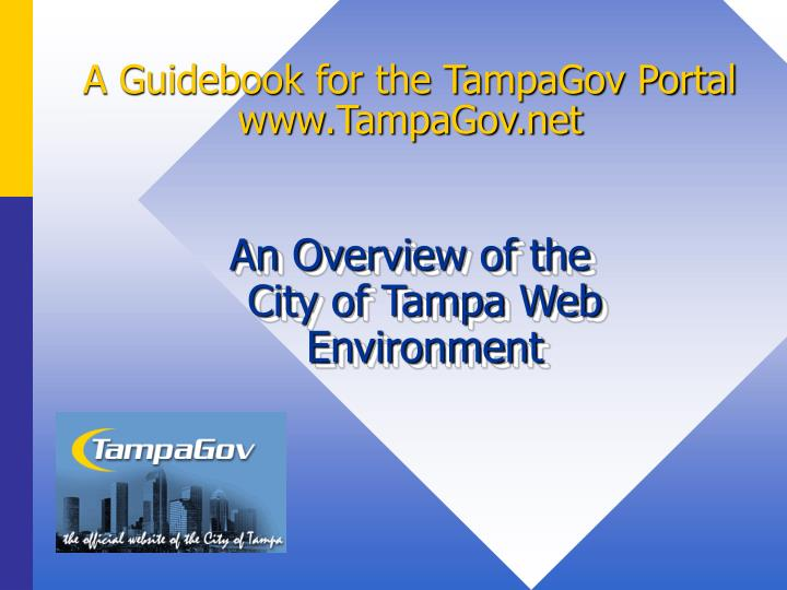 A guidebook for the tampagov portal www tampagov net