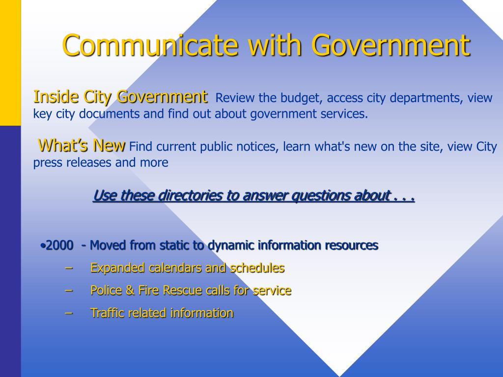 Communicate with Government