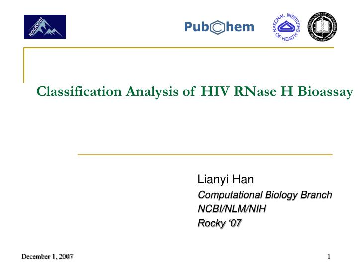 classification analysis of hiv rnase h bioassay n.