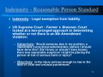 indemnity reasonable person standard