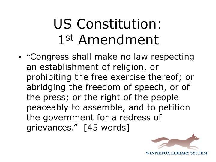 Us constitution 1 st amendment