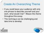 create an overarching theme