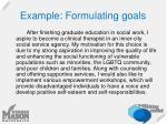 example formulating goals