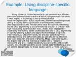 example using discipline specific language