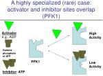 a highly specialized rare case activator and inhibitor sites overlap pfk1