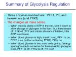 summary of glycolysis regulation