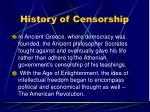 history of censorship