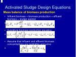 activated sludge design equations