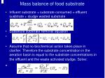 mass balance of food substrate