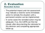 2 evaluation remedial action