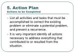 5 action plan actions to be completed