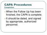 capa procedures completion