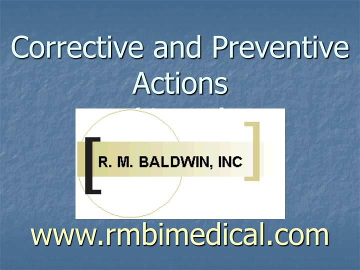 corrective and preventive actions capa www rmbimedical com n.