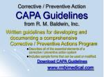 corrective preventive action capa guidelines from r m baldwin inc