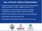 use of results national stakeholders