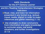 aasl standards for the 21 st century learner and all reading comprehension strategies indicators
