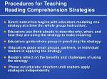 procedures for teaching reading comprehension strategies