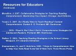 resources for educators continued