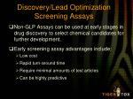 discovery lead optimization screening assays
