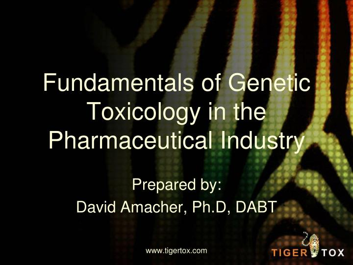 fundamentals of genetic toxicology in the pharmaceutical industry n.