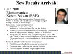 new faculty arrivals