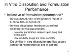 in vitro dissolution and formulation performance