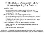 in vitro studies in assessing ir be for systemically acting oral products